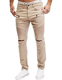 Merish Biker Jeans Hommes Slim Fit Genou déchiré Poches avec Fermeture  éclair ... 67408f87ad6
