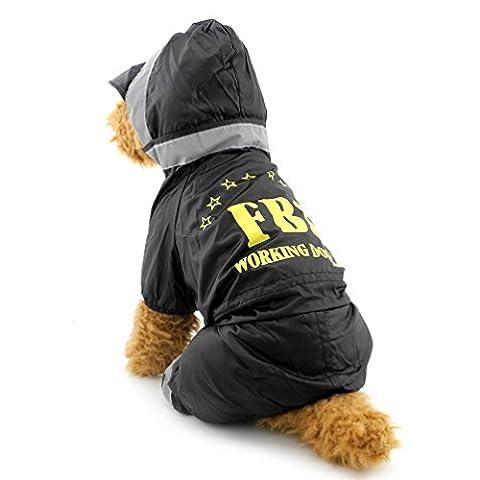 Pegasus Pet Kleidung für Welpen Katze Kleine Hunde, wasserdicht FBI Vinyl Regen Mantel Kapuzen Regenmantel Refelective