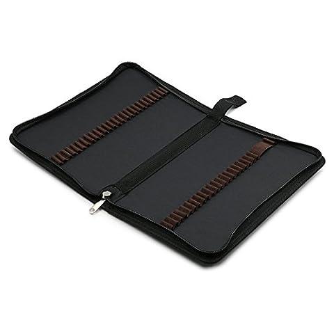 zhengdu portable toile zippée Couleurs Crayon Case-48fente pour crayon sac pochette pour crayons aquarelle noir
