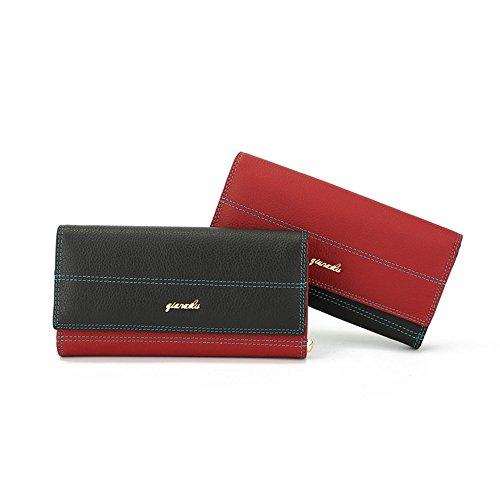Kieuyhqk Damen Portemonnaie Clutch Bag Damen Lange Brieftas Lange Damen Leder Geldbörse Damen Retro Lange Echt Leder Clutch Geldbörse Flap Over Zero Wallet (Color : Red) -