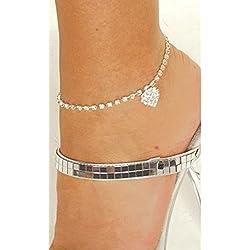 Damen Fußkette Fußkettchen silber mit glitzerden Kristallen viele Formen,super schön (Modell 2)