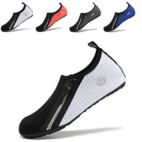 e63dfc2030a7b VIFUUR Chaussures de Sport Nautique Pieds Nus à séchage Rapide Aqua Yoga  Chaussettes Slip-on pour Hommes Femmes Enfants Zippé Blanch EU36 37