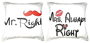 Belkado Mr Right & Mrs Always Right Cushion Cover Throw Pillow ( Multi color, 16