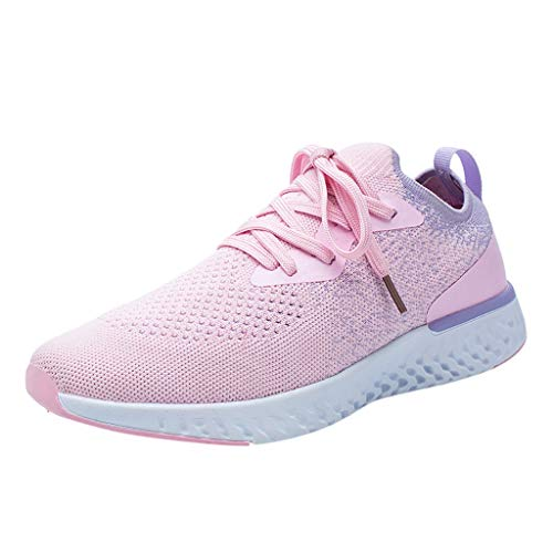 Deloito Damen Sneaker Fliegendes Weben Socken Turnschuhe Mädchen Lässig atmungsaktiv Mesh Schnürschuh Sport Schuhe Hochschule Student Laufschuhe (Rosa,36 EU)
