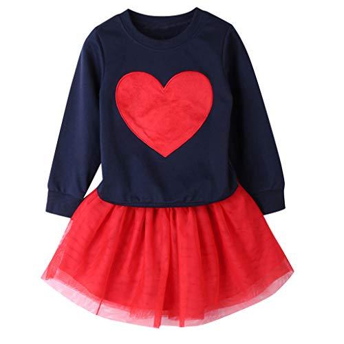 Cuteelf Mädchen Anzug Kinder Baby Mädchen langärmelige einfarbige T-Shirt Top+ Mode Rock Zweiteilige Anzug einfarbige herzförmige langärmelige Shirt Mode Mesh Rock - Hat Check Girl Kostüm