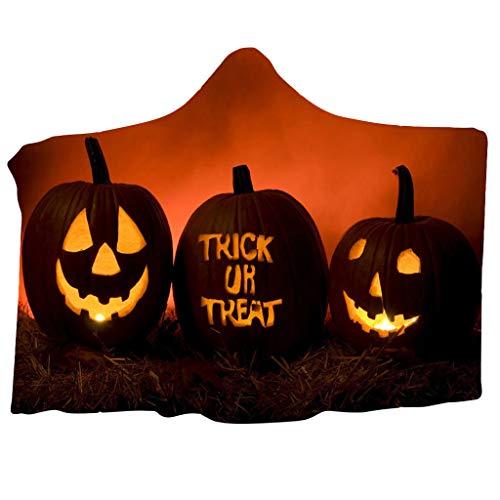Floweworld Mit Kapuze Decke Halloween Mit Kapuze Decke Umhang Kappe Decke Klimaanlage Decke Pumpkin Printed Wearable Blanket Hoodies (Kind Satin Alice Kostüm)