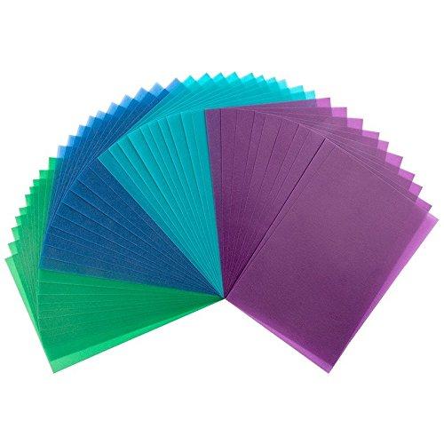 40 Transparentpapiere, 10cm x 15cm, 130 g/m²   buntes Papier zum Basteln, Scrapbooking, Kartengestaltung, DIY u.v.m. (Grün, Blau & Violett)