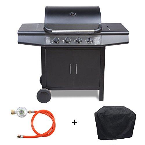 TAINO® Gasgrill BBQ Grill-Wagen 4 Edelstahl-Brenner TÜV Gasbrenner Farbe Schwarz oder Silber / Anthrazit (Schwarz + Set)