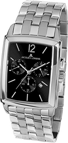 JACQUES LEMANS Herrenuhr Bienne  Metallband massiv Edelstahl  Chronograph 1-1906E