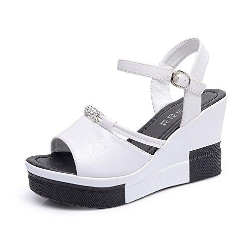 Lgk & fa estate sandali da donna estate di spessore inferiore Lady Heel Student sandali White
