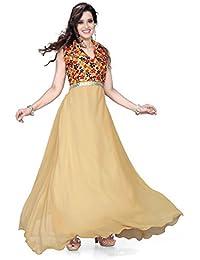 19 Likes Women's Party Wear Gown Western Dresses, 40(Beige, MUMRYGOS028BE)