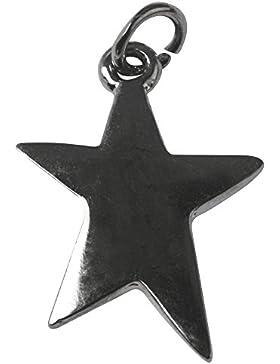 Metall- Anhänger: Stern, 20mm ø silber
