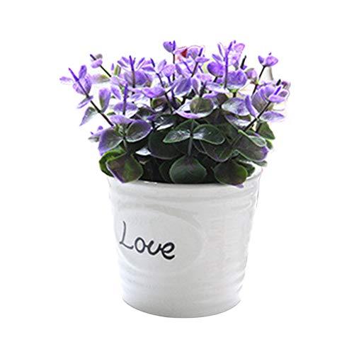 TLfyajJ Topf künstliche Blume Pflanze Bonsai DIY Garten Hochzeit Wohnzimmer dekor 1 stück Lila