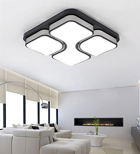 ETiME 24W Design LED Deckenlampe Led Deckenleuchte Wohnzimmer Lampe Schlafzimmer Küche Leuchte 6000K Schwarz Quadratform (43x43cm 24W Kaltweiß) (Kleine Lampe Schlafzimmer)