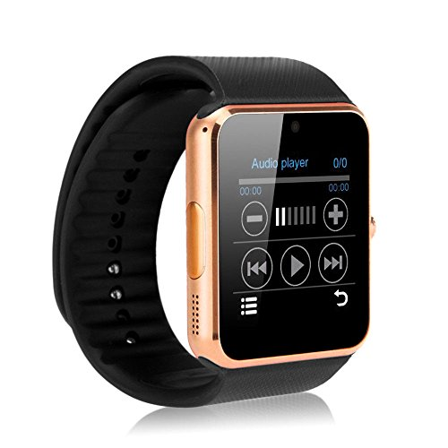 Zomtop Wearable Bluetooth Smart Watch GT08 Smart Health Wrist Watch Phone with SIM Card Slot for Android Samsung HTC LG SONY [Full Functions] IOS iPhone 5/5s/6/plus[Partial functions](Gold+Black)