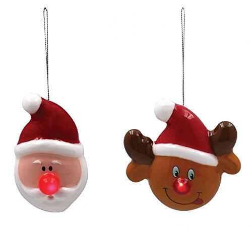 MIGNON Père Noël & RUDOLPHE LED ROUGE NEZ BLANC ROSE Colifichet ornement de Noël Décorations