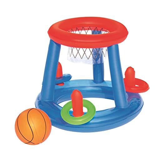 Yue668 Aufblasbare Schwimmende Basketball Korb Blow Up Ball interaktives Spielzeug für Mehrere Schützen Schwimmbad Eltern Kinder
