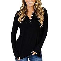 TUDUZ Blouse Women's Blouse Solid Button Up O Neck Irregular Hem Long Sleeve T Shirt Pullover Basic Tops 2XL=UK(18) Black