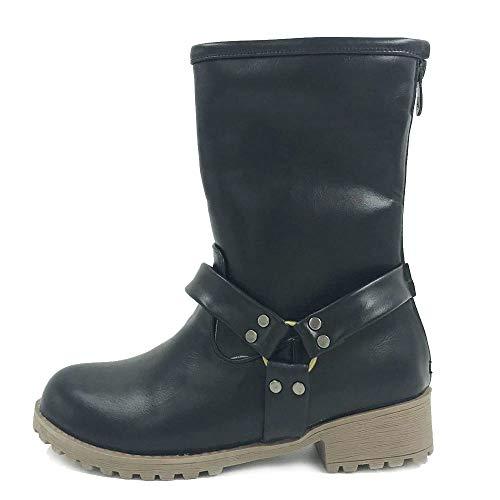TianWlio Stiefel Frauen Herbst Winter Schuhe Stiefeletten Boots Retro Gürtelschnalle Schuhe Mittelrohrstiefel Reißverschluss Flascher Absatz Stiefel Schwarz 40