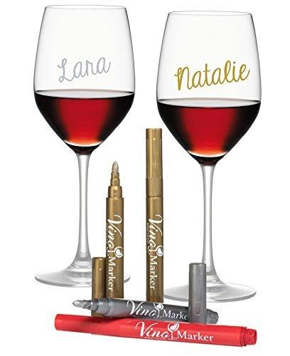 Vino marcador de copa de vino - metálico colores - Paquete de 4 - de uso en todos los de cristal y de cerámica