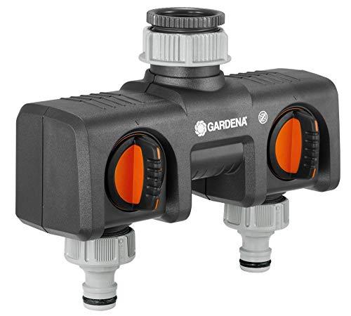 Distributeur 2 voies GARDENA : possibilité de raccorder 2 appareils au robinet, convient pour les programmateurs et minuteries d'arrosage de GARDENA, débit d'eau réglable et verrouillable (8193-20)