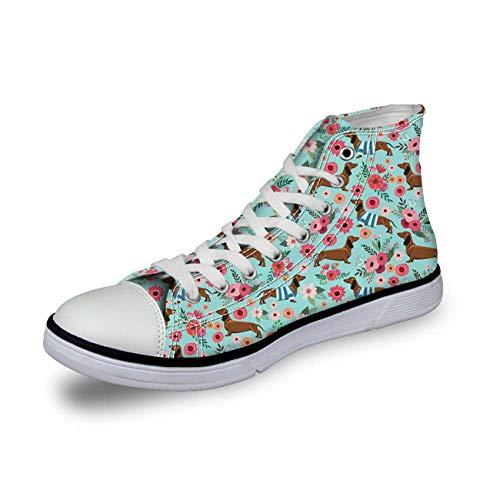 Women High Top Canvas Shoes Fashion Dachshund Sport Sneakers Flats Running Shoes Dachshund 2 UK 4\u002FEU37 (Jordan 11 Retro-schuhe Für Frauen)