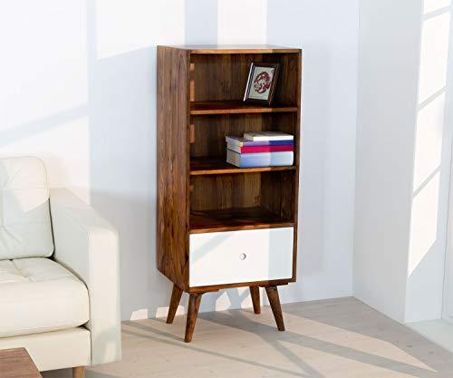 3-schubladen-bücherregal (HAISER Interieur - Massives Echtholz-Bücherregal mit 3 Fächern und Schublade 123 cm Palisander Sheesham Regal)