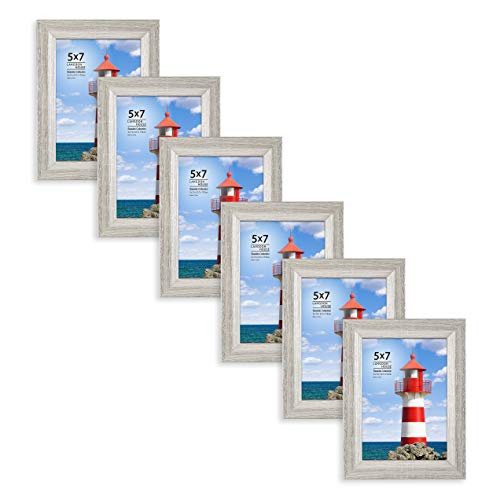 Langdons Bilderrahmen Set (6 Stück), Wandbefestigung oder Tischbilderrahmen, für vertikale oder horizontale Bilder, Meeres-Kollektion, grau, 5 x 7 (Vertikale Bild-frame-hund)