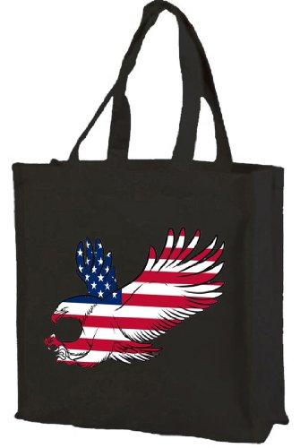 American Flag Eagle-Borsa per la spesa, in cotone, con rinforzo (nero)