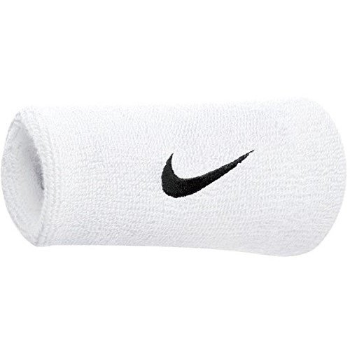 Nike polsino swoosh doublewide wristbands, bianco/nero, taglia unica