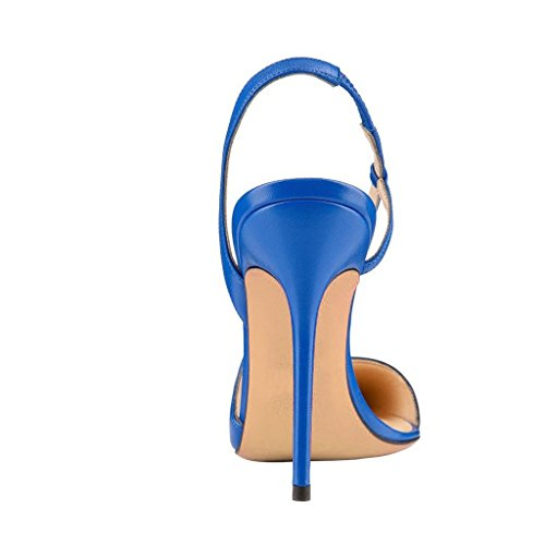 Kolnoo Damen High Heel Pumps Pointed Toe Slingback Damenschuhe Große Größe Blau