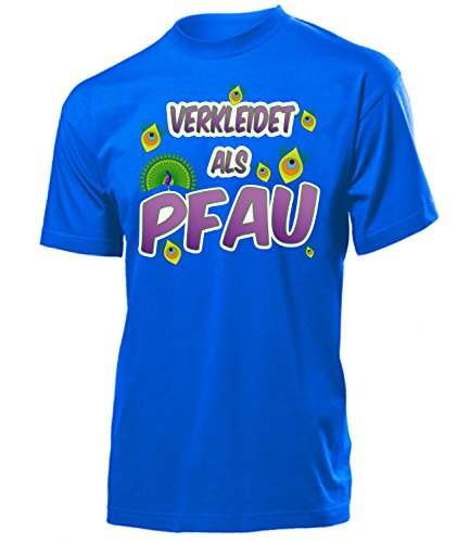 Kostüm Animal Gruppe Party - Pfau 4997 Karneval Fasching Tier Kostüm Motto Party Tier Herren T-Shirt Paar Gruppen Outfit Klamotten Oberteil Faschings Karnevals Blau XXL