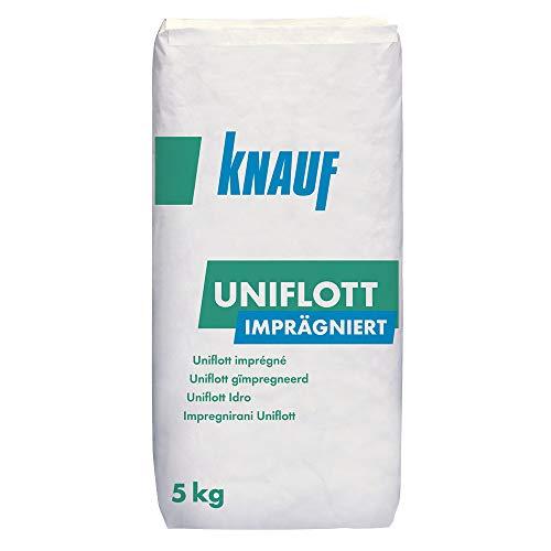 Knauf Uniflott imprägniert Gipsspachtel-Masse zum Verspachteln von imprägnierten Gipsplatten mit HRK bzw. HRAK ohne Fugen-Deckstreifen, 5 kg - Spezial-Gips, wasser-abweisende Spachtel-Masse