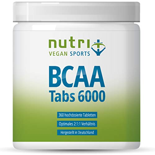 BCAA TABLETTEN 2:1:1 vegan - 360 Mega Tabs à 1000 mg - HÖCHSTE DOSIERUNG - essentielle Aminosäuren - BCAAs ohne Magnesiumstearat - Premiumqualität aus Deutschland - Nutri-Plus Aminos