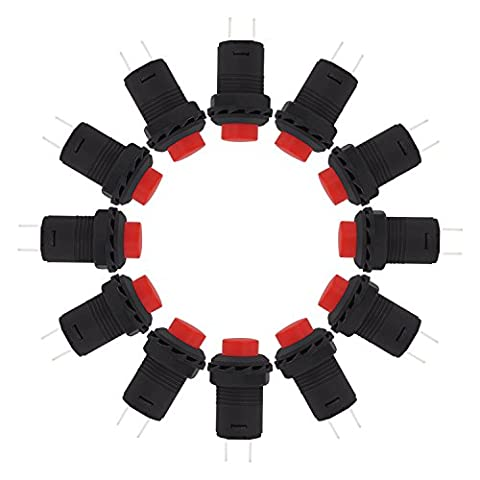 ESUMIC® Push Button Switch OFF-(ON) N/O AC 250V/1.5A 125V/3A SPST Dash Switch 12PCS Red