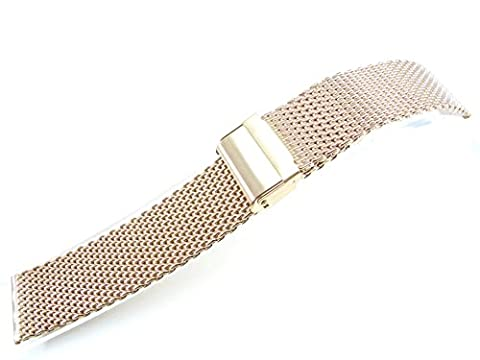 24mm Stainless Steel Watch Mesh Bracelet Wristband 1.0mm Wire silver black gold rose gold titanium (Polishing Rose Gold)