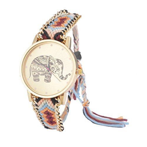 Souarts Colorful Velvet Handmade Adjustable Weave Bracelet Round Wrist Watch (Blue-Elephant)