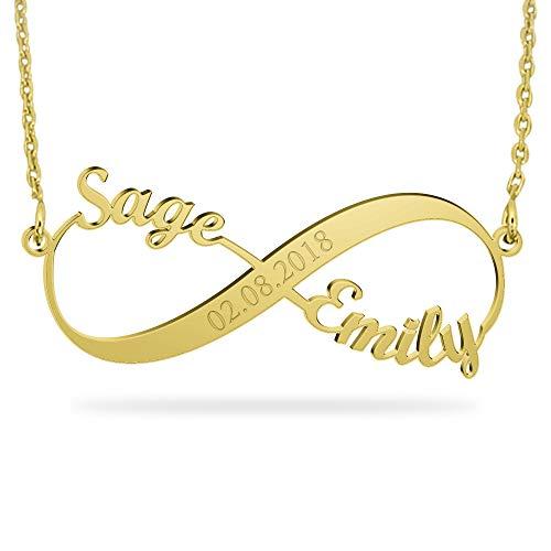 JOELLE JEWELRY Persönalisierte Infinity Namen Halskette 18K Gold Vergoldet Silber mit Wunsch Datum Gravur Geschenk zu Jahrestag Schmuck