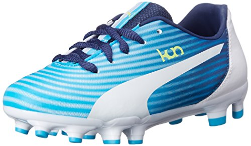 Puma Kun 16 Firm Ground Jr Soccer Shoe (Infant/Toddler/Little Kid/Big Kid) Fluorescent Blue/White/Fluroscent Yellow Co/Black