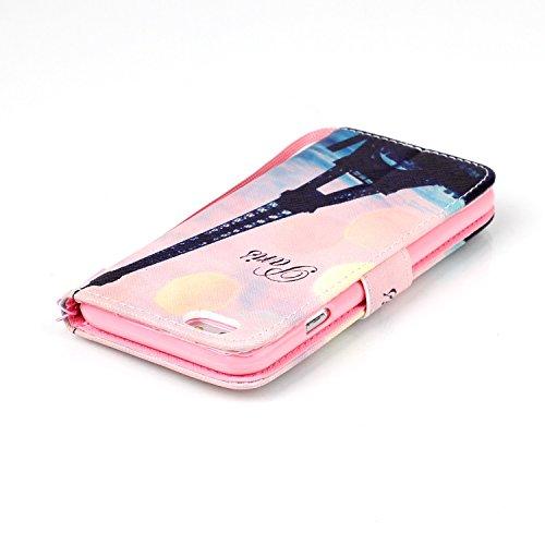 Custodia per iPhone 6 Plus Rosa,TOCASO Farfalla Dandelion Flip Case PU Pelle [Wallet Book Design] per iPhone 6s Plus 5.5 Portafoglio Cover Ultra Sottile Leather Protettivo Cases Covers Shell [Lanyard/ Stylish#21