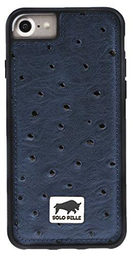 "Solo Pelle iPhone 7 / 8 Case Lederhülle Ledertasche Backcover "" Flex "" aus echtem Leder mit Kroko-Prägung in Schwarz inkl. edler Geschenkverpackung Strauss-Blau"
