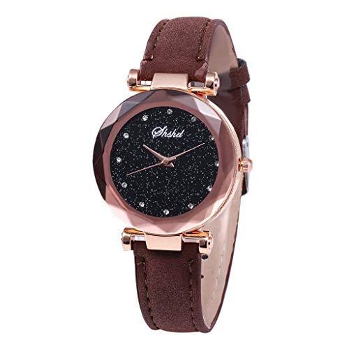 Neu!!!Damen Uhren Modisch Diamond Sternenhimmel Dial Armbanduhren, Bloodfin Damenuhren Wasserdichte Watches Quarzuhr mit Leder Uhrenarmbänder Schnalle Geschenk für Frauen Damen (Braun)