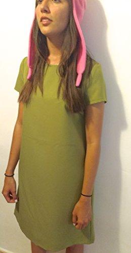 Bunny Kostüm Home - GSet: Cosplay Pink Bunny Hat + Grünes Kleid - Louise Belcher - Bob's Burgers