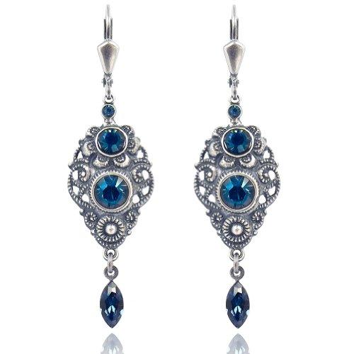 Jugendstil Ohrringe Blau mit Kristallen von Swarovski® Silber NOBEL SCHMUCK
