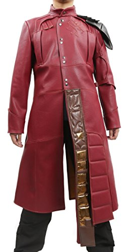 Halloween Herren Langer Jacke Mantel Rote PU Leather Regenmantel Erwachsene Cosplay Fancy Dress Kostüm Costume (Halloween Galaxy Guardians Of The)