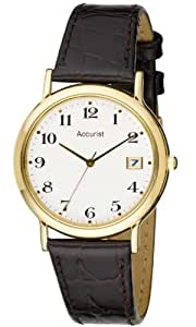 Accurist Men's Gold Tone Brown Leather Strap Watch MS706WA