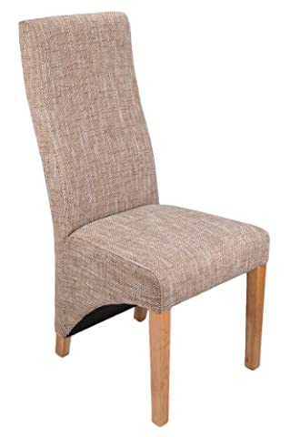 Shankar Baxter Tweed Effect Oatmeal Upholstered Dining Chairs, Set of 2