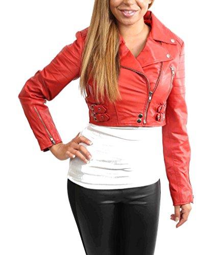 (A1 FASHION GOODS Damen Biker Rot Lederjacke kurz Ausgestattet Kurz Geschnittene Bustier Art-Mantel - Amanda (S - EU 36))