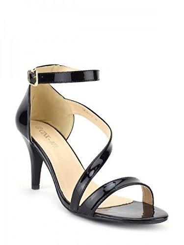 Cendriyon, Sandale Vernie Noire CINKME Chic Chaussures Femme Noir