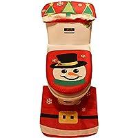 Decoración de Navidad,Dragon868 3PCS Navidad WC cubierta asiento Santa Claus baño Mat Xmas
